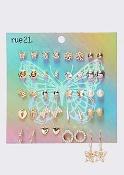 20-Pack Mixed Metal Butterfly Earring Set