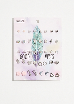 20-Pack Silver Good Vibes Rose Earring Set