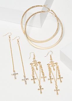 3-Pack Gold Cross Dangle Earring Set