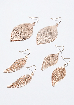 3-Pack Rose Gold Filigree Leaf Drop Earring Set
