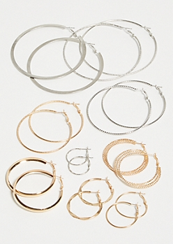 9-Pack Mixed Metal Hammered Hoop Earring Set
