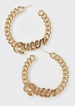 Gold Queen Chunky Chain Hoop Earrings