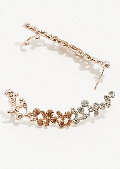 Gold Champagne Gem Crawler Earrings