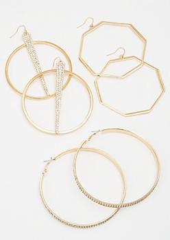 3-Pack Gold Octagon Oversized Hoop Earrings