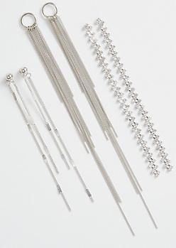 3-Pack Silver Rhinestone Drop Stud Earring Set