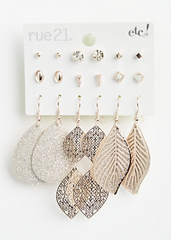 9-Pack Rose Gold Leaf Filigree Drop and Stud Earring Set