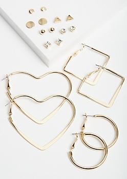 9-Pack Gold Geometric Hoop and Stud Earring Set