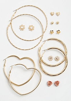 9-Pack Gold Heart and Rose Hoop and Stud Earring Set