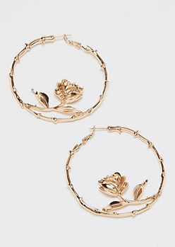 Gold Rose Thorn Hoop Earrings