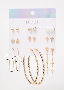 9-Pack Gold Cross Stud Earring Set