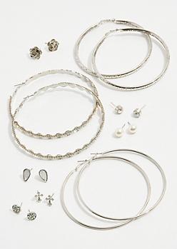9-Pack Silver Cross Earring Set