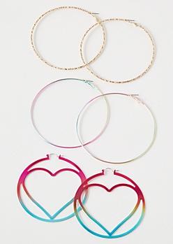 3-Pack Rainbow Metallic Heart Hoop Earring Set
