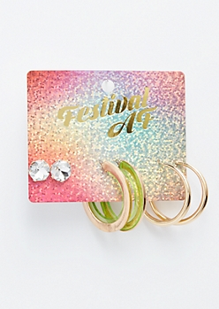 3-Pack Green Transparent Earring Set