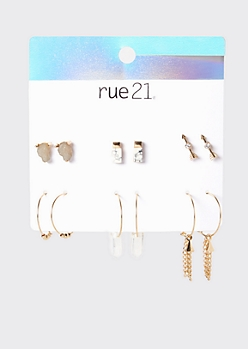 6-Pack Gold Mixed Stone Boho Earring Set