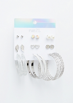 9-Pack Transparent Opal Wing Earring Set