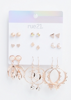 9-Pack Rose Gold Boho Assorted Earring Set