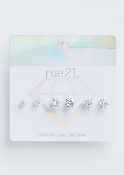 3-Pack Faux Diamond Stud Earring Set