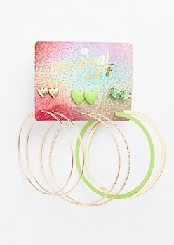 6-Pack Matte Green Heart Earring Set