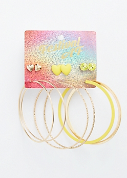 6-Pack Matte Yellow Heart Earring Set