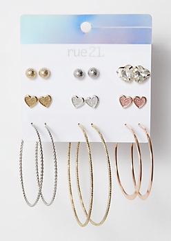 9-Pack Mixed Metal Heart Hoop Earring Set