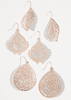 3-Pack Rose Gold Glitter Leaves Drop Earring Set