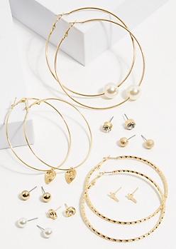 9-Pack Gold Cross Pearl Earring Set
