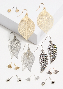 9-Pack Mixed Metal Glitter Heart Earring Set