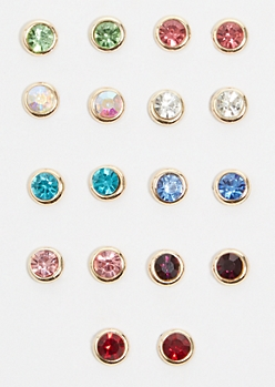 9-Pack Gold Colorful Gem Stud Earring Set