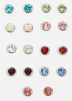 9-Pack Silver Colorful Gem Stud Earring Set