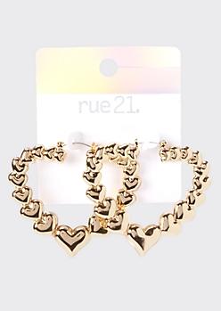 Gold Repeated Heart Hoop Earrings