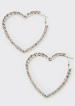 Silver Rhinestone Heart Hoop Earrings
