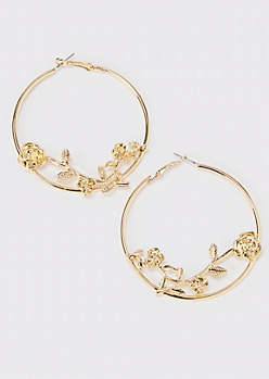 Gold Rose Hoop Earrings