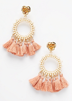Gold Rose Tassel Statement Drop Earrings