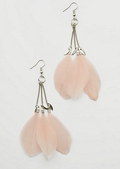 Silver Triple Feather Drop Earrings