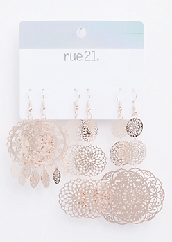 3-Pack Rose Gold Filigree Dreamcatcher Earring Set
