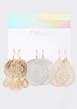 3-Pack Mandala Drop Earring Set