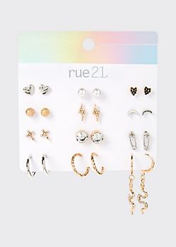 12-Pack Snake Stud And Drop Earring Set