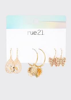 3-Pack Gold Butterfly Assorted Earring Set
