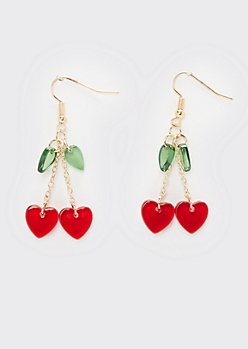 Gold Cherry Heart Drop Earrings