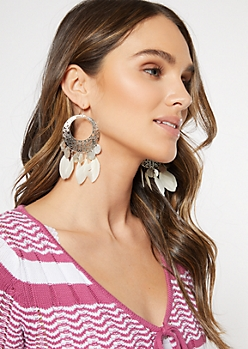Silver Filigree Feather Drop Earrings