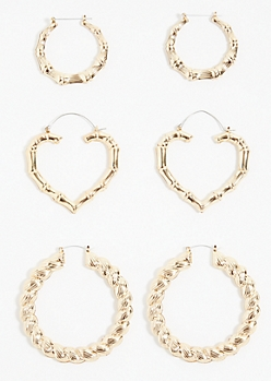 3-Pack Gold Bamboo Heart Hoop Earring Set