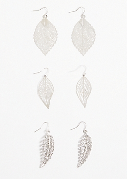 3-Pack Silver Filigree Leaf Drop Earring Set