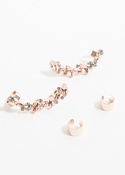 Rose Gold Pink Gem Crawler Earrings