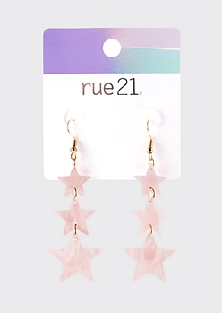 Pink Pearlescent Star Drop Earrings