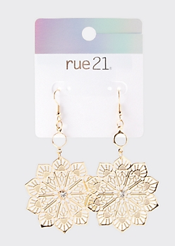 Gold Rhinestone Mandala Drop Earrings