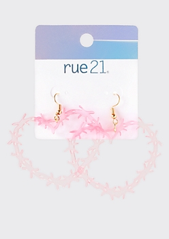 Pink Barbed Wire Heart Drop Earrings