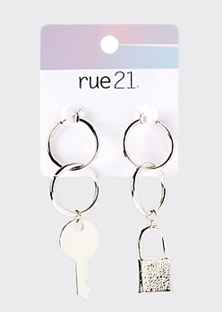 Silver Lock And Key Drop Hoop Earrings