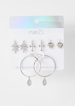 Silver Weed Print Interchangeable Charm Hoop Earrings