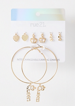 Gold Queen Interchangeable Charm Hoop Earrings