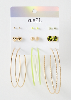 9-Pack Gold Neon Green Snakeskin Earring Set